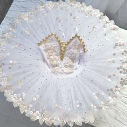 seide lange abendröcke Rabatt Weißes Berufsballerina-Ballettballettröckchen für Kinderkindermädchenerwachsen-Pfannkuchenballettröckchenkleider tanzen Kostümballettkleid
