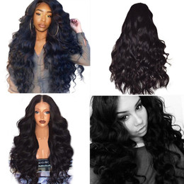 Длинные черные волосы волна тела онлайн-Women Long Curly Hair Wavy Black Women Brazilian Remy Human Hair Body Wave Lace Front Wigs Black 2U81120