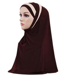 2019 mütze für muslimische frauen Frauen Moslemisches Hijab Islamisches Jersey Turban Mode Doppel Farbe Spleißen Schal Hijab Kopf Wrap Underscarf Cap Instant Kopftuch günstig mütze für muslimische frauen
