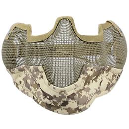 Media máscara de malla de metal online-Máscara de casco Half Face Guardian Metal Steel Net Mesh Camouflage Mask