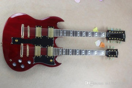 Cuello para guitarra de 12 cuerdas online-SG doble cuello 12 cuerdas + 6 cuerdas guitarra eléctrica vino profundo oro!