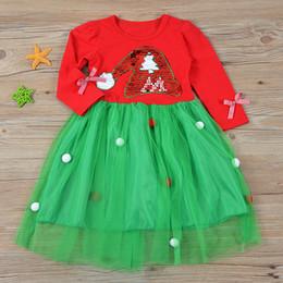 2019 camisas bordadas de tul Manga larga de Santa Cap Vestido de lentejuelas bordado bola de tul vestido de algodón Navidad Ropa de diseñador para niños niñas C1811291 camisas bordadas de tul baratos