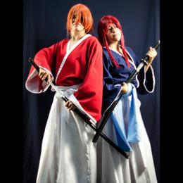 2019 kimono japonés azul HIMURA KENSHIN trajes de cosplay Kimono anime japonés Rurouni Kenshin ropa Mascarada / Mardi Gras / trajes de carnaval rojo azul rebajas kimono japonés azul