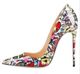 Desenhos animados sexy sapatos de salto alto on-line-Mulher Graffiti Bombas Super Salto Alto 12 cm Dedo Apontado Salto Fino Plus Size 43 Colorido Dos Desenhos Animados Sexy Lady Vestido De Festa Sapatos