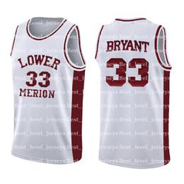 Camisolas baratas de alta qualidade on-line-High School de Kobe Bryant 33 Jersey NCAA Mens Branco Red barato Atacado Basquete Jerseys bordado Logos asdgdsfgjfhjklrthj Qualidade