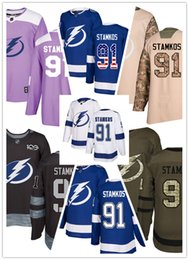 хоккей с шайбой Скидка Трикотажные изделия Tampa Bay Lightning # 91 Steven Stamkos Jersey хоккей мужчины женщины молодежный белый королевский синий Стипендированные подлинные трикотажные изделия с флагом США
