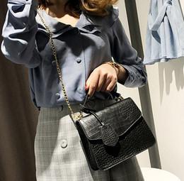 2019 modello di shopping bags gratuiti Borsa donna 2019 nuovo selvaggio coccodrillo modello piccola borsa quadrata semplice borsa tracolla tracolla borse borse shopping gratuito modello di shopping bags gratuiti economici