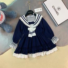 material de la manga del vestido Rebajas vestido ropa niños diseñador niñas otoño nueva princesa vestido gasa material encaje ribete trompeta manga diseño vestido mejor
