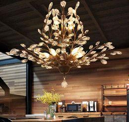 Montagem de teto de cristal vintage on-line-K9 Candelabro de Cristal Pingente de Árvore Filial Lâmpadas lustres de cristal do vintage lustres de ferro moderna sala de estar Luz de Teto de Iluminação