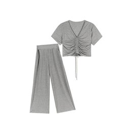 Майка широкая шея онлайн-Women Summer Two Piece Sets V-Neck Drawstring T-shirts High Waist Wide leg pants Female Fashion Suit
