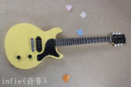 Oem oro solido online-Commercio all'ingrosso - 2019 chitarra elettrica di colore giallo solido solido con hardware in oro modello G-lp chitarra OEM + Spedizione gratuita!