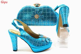 c7b5c3f23 2019 conjunto de saco de sapatos italiano para mulheres Azul céu italiano  Sapatos e bolsas para