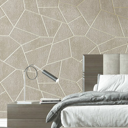 Veludo rebanho wallpaper on-line-Velvet 3D Geometric Wallpaper Grey Brown sala quarto papel de parede Decor Covers Embossed reunido texturizados parede Modern