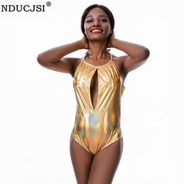 oro superiore corpo cavo Sconti NDUCJSI Body Suit Body Halter Scava Fuori Senza Maniche Summer Beach Hot Body Costume intero Gold Push Up Pagliaccetti Top