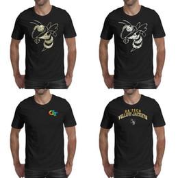 Camisas de futebol americano amarelo on-line-Mens impressão GA Tech Yellow Jackets futebol Núcleo Fumaça logotipo camisa preta t Camisas de Campeão Slogan Engraçado Americano camuflagem orgulho Gay