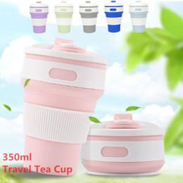 2019 caneca da lente branca Canecas de café dobráveis portáteis do curso do silicone que dobram a caneca fria quente do copo de chá do copo
