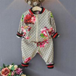 2020 pc del vestito dei neonati Per bambini Primavera Autunno Ragazzo Ragazza Suit Flower Jacket Pantaloni 2 pezzi Imposta abbigliamento per bambini Casual Baby Girl Boy Set Costume sconti pc del vestito dei neonati