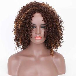 Deutschland Kurze synthetische Perücken billig und schön 14 Zoll kurze Haare verworrene lockige Perücke synthetische Perücke Afroamerikaner Perücken für schwarze Frauen goldene Schönheit cheap nice wigs women hair Versorgung