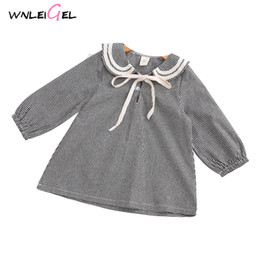 272ab2bf70ea7 WLG girls spring autumn dresses kids girl peter pan collar plaid cotton  dress baby casual clothes children 2-6 years