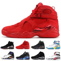Valentines baratos on-line-Nike Air Jordan 8 Retro homens tênis de basquete 8 Dia Dos Namorados Aqua Preto Branco Cromo Contagem Regressiva Pack Playoff SUL PRAIA Mens Esportes Tênis Baratos
