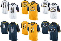 futebóis frete grátis Desconto Factory Outlet - Frete grátis! NCAA West Virginia montanhistas Justin Crawford 25 Chugunov 11 College Football jersey (número do nome costurado)