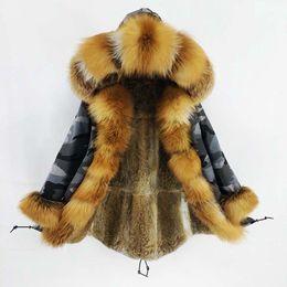 2019 capuz de pele vermelha 2019 Camuflagem de Inverno revestimento do revestimento das mulheres reais Fur Natural Red Fox Fur Collar capa real Rabbit Fur Liner Streetwear longo Parka SH190922 desconto capuz de pele vermelha