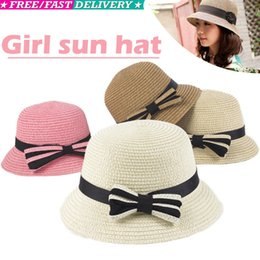 2019 cappello di brunetta del bambino Toddlers Neonati Bimba Berretti estivi Cappello da sole in paglia per berretto 3-5Year bianco marrone rosa beige sconti cappello di brunetta del bambino