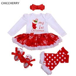 linda niña rosas Rebajas Mis primeras chicas de navidad trajes tutu vestido de mameluco del cordón diadema pierna calentadores zapatos de cuna bebé recién nacido ropa infantil