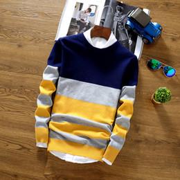 2019 uomini di pullover a crochet 2019 di marca di modo giuntura Stripe cotone sottile Pullover Maglioni casual all'uncinetto maglia a strisce maglione Pullover Abbigliamento SH190930 uomini di pullover a crochet economici