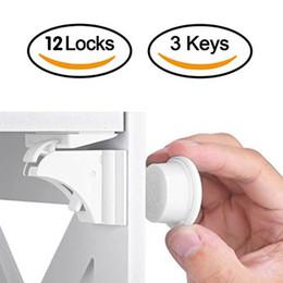 stop lock por atacado Desconto 12 + 3 pcs Crianças Fechadura Magnética Do Bebê de Segurança Do Bebê Armário de Proteção Fechadura Da Porta Crianças Gaveta Locker Segurança Fechaduras Invisíveis J190524
