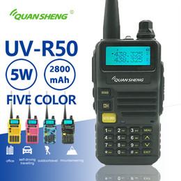 двухдиапазонный uhf vhf портативный Скидка Quansheng УФ-R50 Walkie Talkie UHF VHF Dual Band 5W Двухсторонний Радио 2800mAh Длинные ожидания Портативный радиоприемник Uv-5R Hf трансиверов Uv 5г