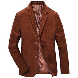 Traje de pana slim fit para hombre online-Pana para hombre Blazers Casual Plus Size Button Blazer Vintage Hombres Slim Fit trajes Homme coreano collar masculino Chaquetas de traje 6X001