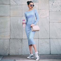 41dc65575e3d 2019 eleganti abiti blu mezza di vitello Elegante abito jacquard donna blu  aderente abito a maniche