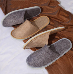 linen slippers Promo Codes - Comfortable Breathable Soft Disposable Slippers Home Guest Shoes Yellow Grey Hotel SPA Anti-slip Cotton Linen Disposable Slippers BH0607 TQQ