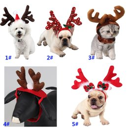 Acessórios para fantasias de gato on-line-Pet Christmas Headdress For Dog Cat Headband Xmas Hat Puppy Costume Accessories For Reindeer Decoration DHL SHip HH9-2462