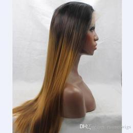 cor loira Desconto O Envio gratuito de cabelo resistente ao calor de dois tons ombre cor 1B / 27 # / 30 # glueless preto loiro naturais peruca dianteira do laço sintético direto
