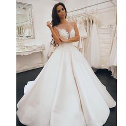 2e7770bd8b simples vestidos de boda de satén hinchado Rebajas Elegante blanco una  línea de satén vestidos de