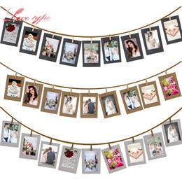 Telai di legno poco costosi online-Cheap Party Decorazioni fai da te 10 Pz / lotto Portafoto in legno Portafoto in legno Portafoto per matrimonio Baby Shower Festa di compleanno Photo Booth