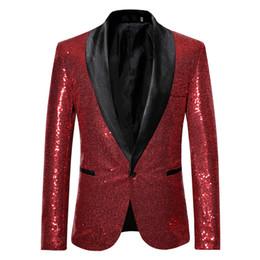 2019 tuxedo peggiorato dello sposo Solido paillettes con Button Designer Stage Suit Jacket Moda singolo pulsante Mens Blazer Plus Giacca Hommes