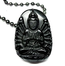 2019 colgante kwan yin Joyería Fina Hielo Natural Tipo de Obsidiana 16 Brazos Cuasi Bulmo Kwan-Yin GuanYin Bodhisattva Collar Colgante Envío Gratis rebajas colgante kwan yin