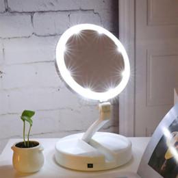 luces de maquillaje led portátiles Rebajas Espejo de maquillaje iluminado con LED portátil Vanity Compacto Maquillaje Espejos de bolsillo Espejo cosmético Vanity 10X Lupas VT0005