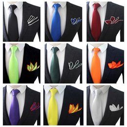 Мужчины связывают руки онлайн-JEMYGINS Original 3.5inch High Quality Hand Made Silk Multicolor Solid Neck Tie & Pocket Square Set For Men Wedding Party