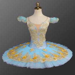 trajes de aves azuis Desconto Fada azul Mulheres Profesional Ballet Tutu Mulheres Adultas Desempenho Palco Azul Panqueca de Balé Tutu Traje Flores