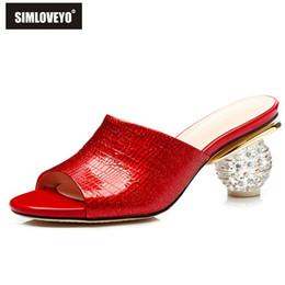 2019 chaussures d'été élégantes sexy SIMLOVEYO rouge grande taille 2019 été nouvelle chaussures femme sexy peep toe mules peu profondes chaussures pantoufles élégantes femmes promotion chaussures d'été élégantes sexy