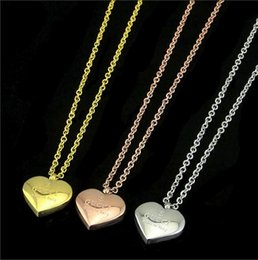 charm initials necklace chains Coupons - High quality Wholesale wedding Jewelry heart love Pendant Necklace Women brand Charm Necklace Fashion Stainless Steel summer jewelry