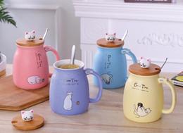 Tazze del gatto della tazza ceramica del fumetto 3D tazza di caffè con il cucchiaio di bambù del coperchio regalo sveglio di Natale dell'animale domestico del cane tazza fortunata SN27414 da