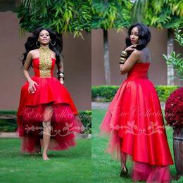 I vestiti di promenade basso basso sono gonfi online-New Red High Low Puffy African Black Girl Prom Dresses 2019 Ankara unico Plus Size abiti da sera maniche Festa