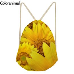 violas flowers Promo Codes - Coloranimal Fashion 3D Sunflower Viola Cornute Flower Printed Teenager Girl Casual Drawstring Bags Sack Bags Female Backpack