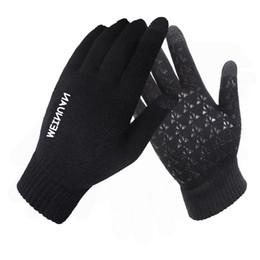 Tela sensível ao toque on-line-Unisex Capacete Anti-skid Luvas de Malha de Tela de Toque Engrossar Inverno Quente Luvas de Condução Moda Presente de Natal MMA2388