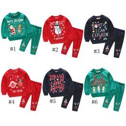 Roupas de bebê menino santa on-line-Roupas de Bebê de natal hoodies Set INS Crianças Santa Carta Imprimir Tops Calças Menino Meninas de Manga Longa Roupas Crianças Camisolas GGA1408